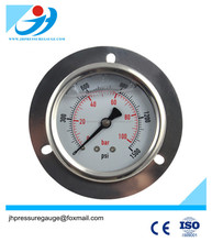 Stainless steel oil filled pressure gauge with front flange and 1000psi