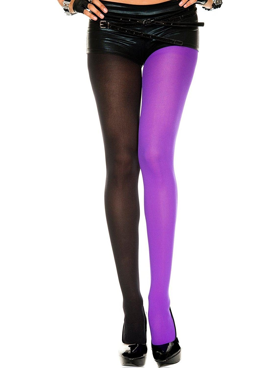 Sexy crushed velour royal blue opaque stockings