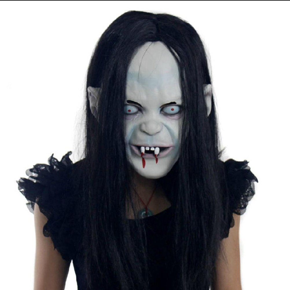 WINOMO Halloween Mask Creepy Scary Halloween Toothy Zombie Ghost Mask with Hair for Cosplay Costume