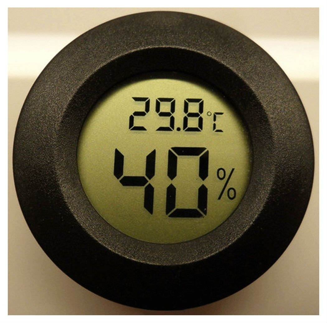 Digital Cigar Humidor Hygrometer Thermometer Temperature Round Black NEW Best Selling