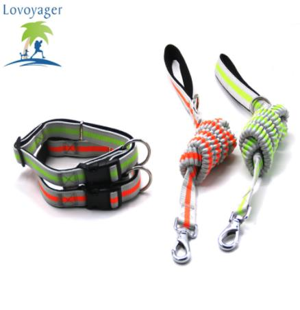 Lovoyager dog collar elastic reflective dog leash retractable dog leash set nylon pet supplies