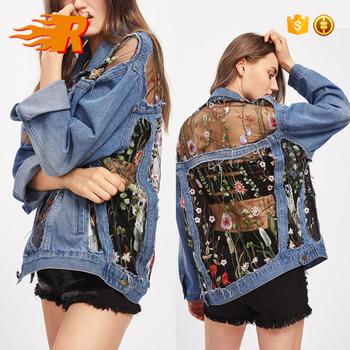1ade1bd07 Custom Oversized Vintage Floral Embroidered Mesh Insert Denim Jacket Women  - Buy Denim Jacket Women,Custom Denim Jacket,Denim Jacket Product on ...