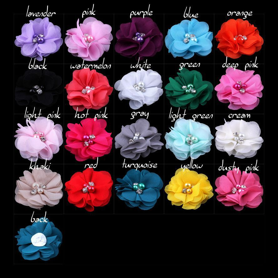 40pcs lot 2 Petitie Chiffon Flowers with Pearl Rhinestone Center for Hair Clips Baby Hair