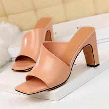 Женские туфли без задника, желтые шлепанцы на толстом блочном каблуке, серебристые шлепанцы, соблазнительные Летние черные туфли с открыты...(Китай)