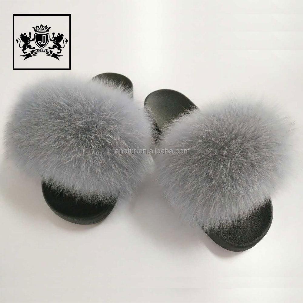 e28facb9c6a9 Wholesale New Design Women Luxury Fur Slippers PVC Plastic Plush Fox Fur  Slides