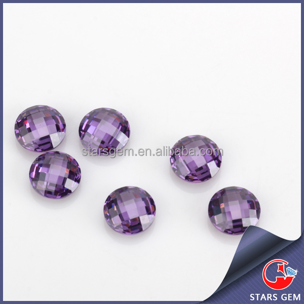 Customized factory price double checker cut round amethyst artificial jewel stone