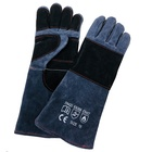 camping barbecue heat resistant leather gloves cowhide insulated
