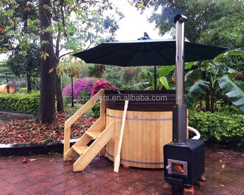1 person outdoor wood fired hot tub round small hot tub