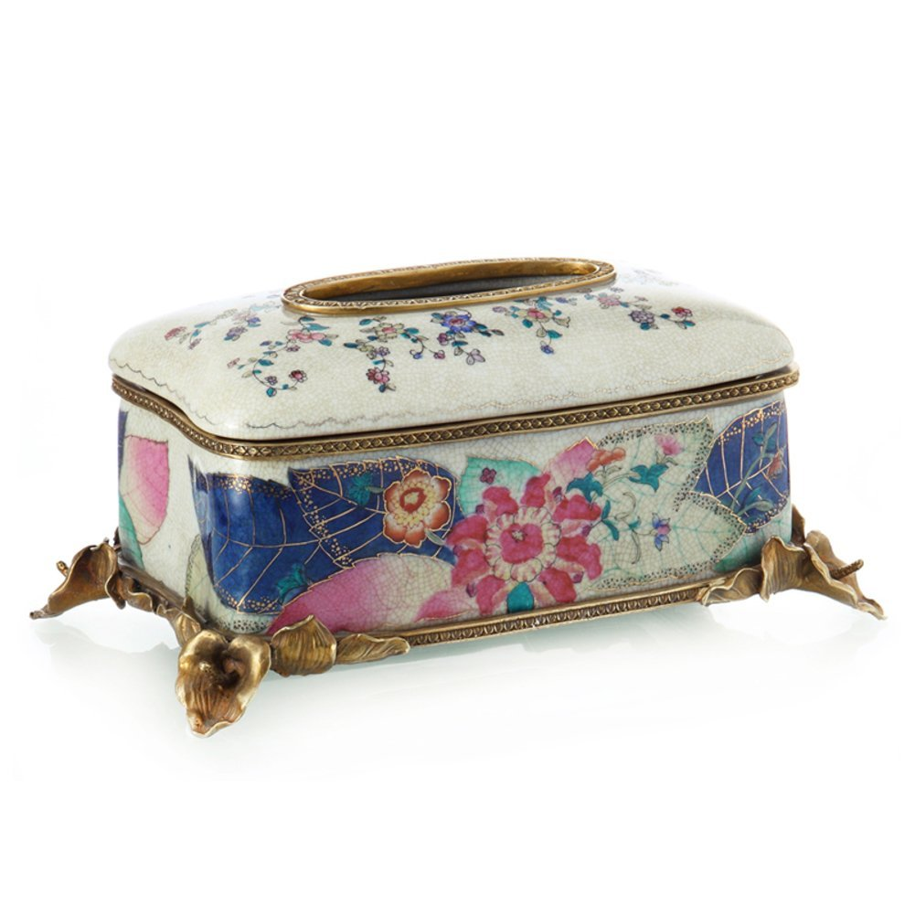 Creative fashion ceramic insert copper paper towel/ high-end home furnishing articles tissue box-A