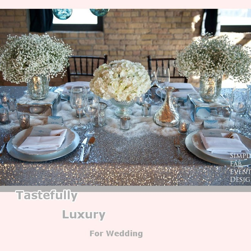 manufacture elegant wedding sequin tablecloths