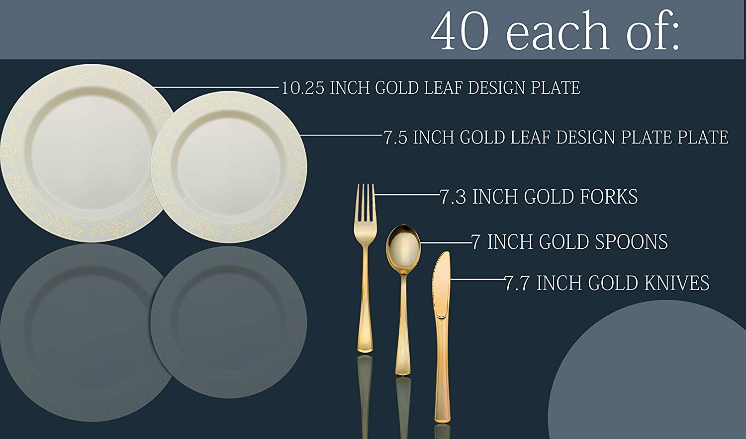 Heavyweight Disposable Plastic Cutlery Set Glossy Gold Dinner Plates