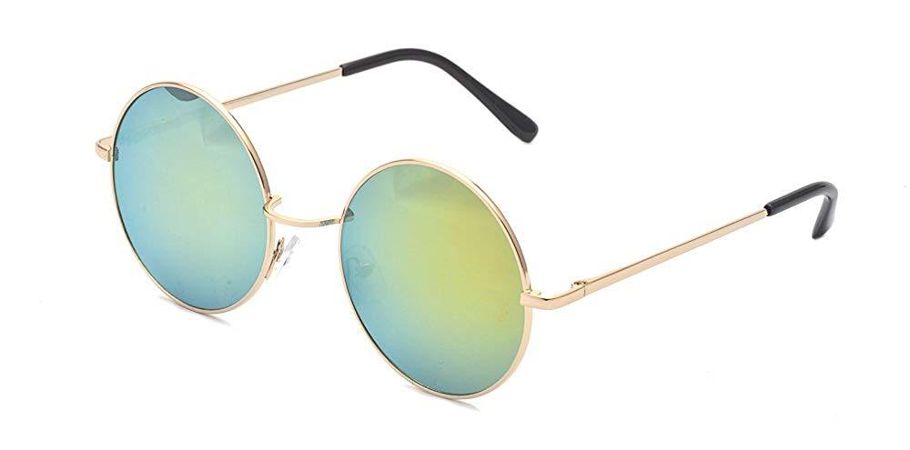 f25cb28c22 Get Quotations · ALWAYSUV Classic Round Circle Mirrored Lens Thin Frame  John Lennon Sunglasses Eyewear