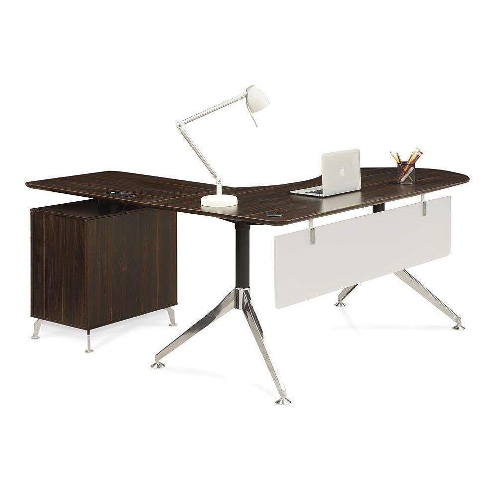 """Executive Curved L-Desk with Right Return - 71""""W Dark Walnut Laminate Top/Acrylic Modesty Panel/Black and Chrome Aluminum Leg Dimensions: 71""""W x 63""""D x 30""""H Weight: 172 lbs."""