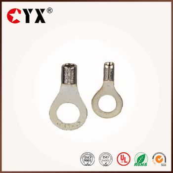 QWT RNB80-8 AWG 22-16 Non-insuleted Electrical Crimp Copper Cable Eye Lugs Round Earth Type