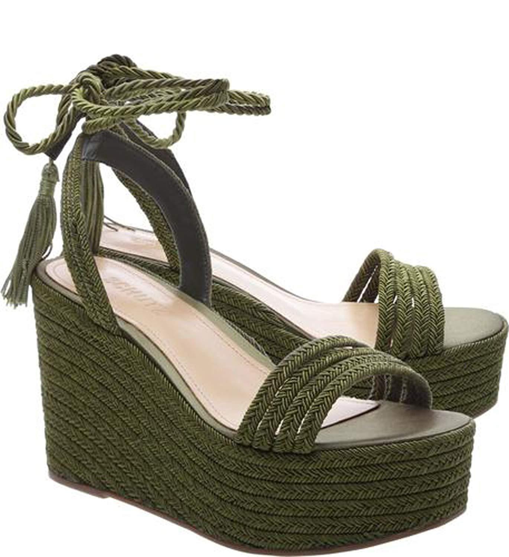 b036d4ba893ce Get Quotations · SCHUTZ Women s Green Mattia Braided Wedge Sandal with  Satin Rope Tassel Laces