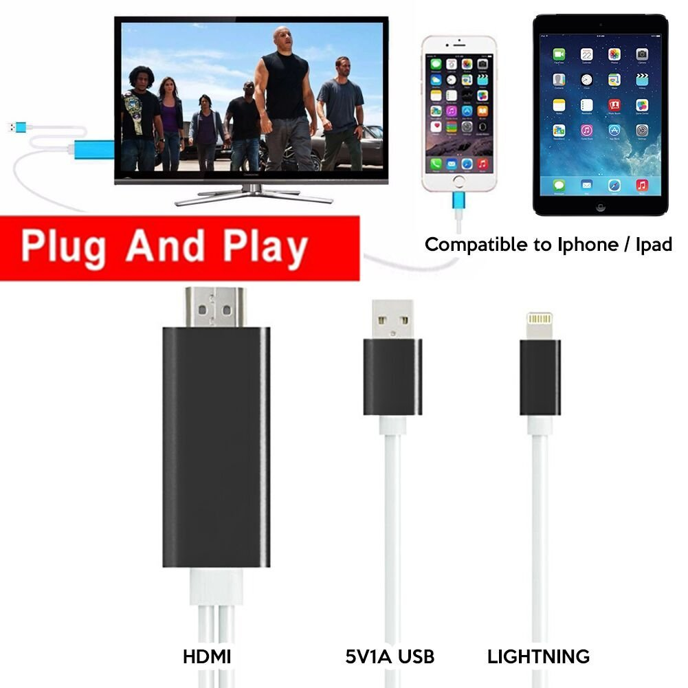 best cheap e605d 88814 Buy HDMI to iphone ipad, iphone HDMI cable to TV 6.6 Ft Lightning ...