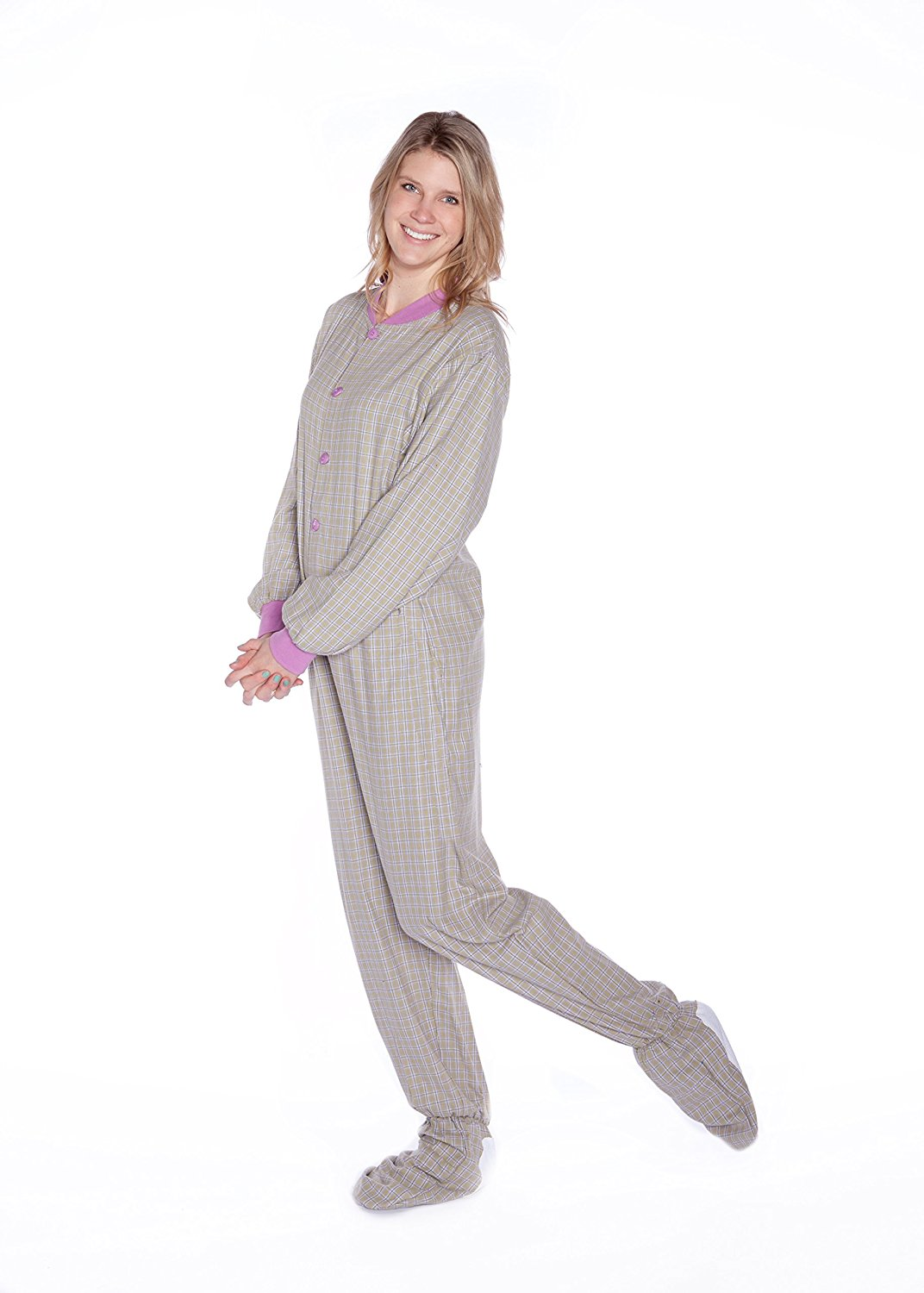 Get Quotations · Big Feet Pajama Co. Green   Purple Lavender Plaid Flannel Adult  Footie Pajamas w  0bdf1da90