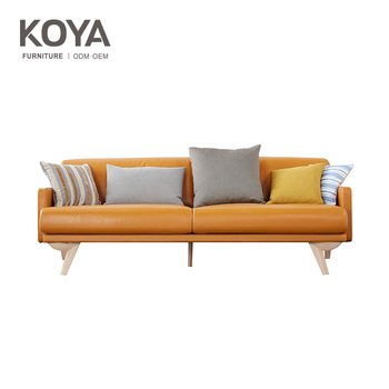 Livingroom Modern Scandinavian Style Streamlined Design Colofur Leather Sofa  / Relaxing Couches