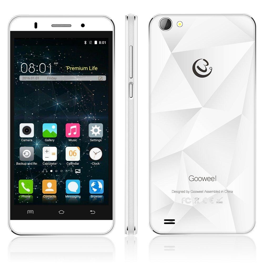 Gooweel M5 Pro smartphone MTK6580 quad core 5 inch IPS mobile phone 1GB RAM 8GB ROM 5MP+8MP camera GPS 3G cell phone (White)