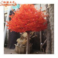 Beautiful chinese mid autumn festival artificial autumn tree leaves artificial red maple tree