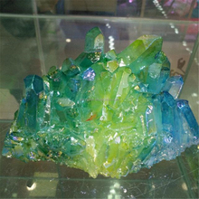 Fancy Green And Yellow Colorful Quartz Aura Crystal Cluster For Wedding Gifts