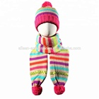 Girl's Cable Knitted Winter Hat Scarf Gloves Set in rainbow colors with pompom beanie