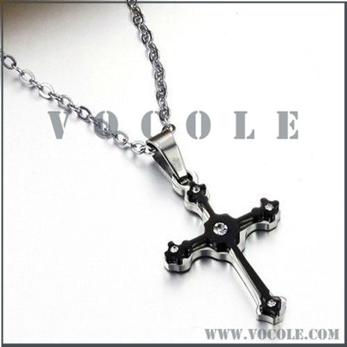 Black Jeweled Crystal Drill Cross Stainless Steel Necklace
