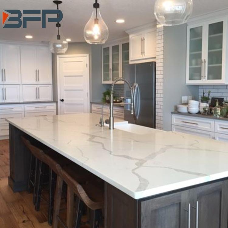 Custom White Quartz Copy Marble Veins Countertops For Vanity Tops