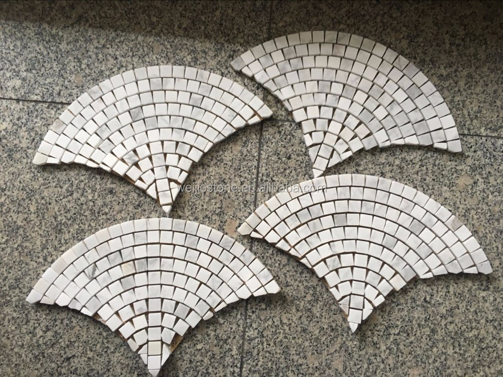 Fan Shape Fish Scale Polished White Mosaic Bathroom Floor