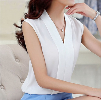 Korean Style Women Fashion Sleeveless White Blouse V Neck Chiffon Tops and Blouses