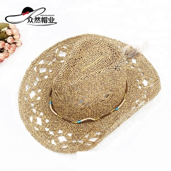 China New Style Promotion Straw Western Beach Cowboy Hat