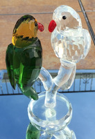Emerald Green & Clear Crystal Parrots animal MH-D0413