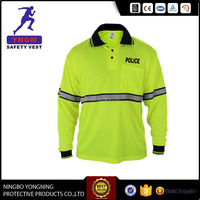 Polyester Long Sleeve Safety Polo T Shirt With Reflective Tape