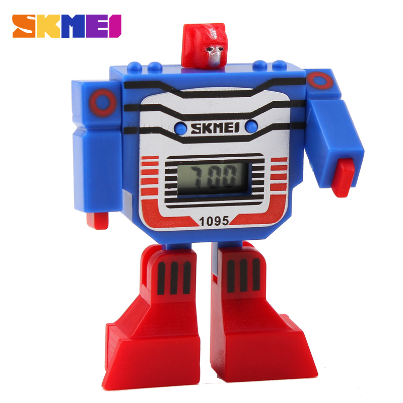 2016 SKMEI Cute LED Digital Kids Children Watch Cartoon Sports Watches Relojes Robot Transformation Toys Boys Wristwatches