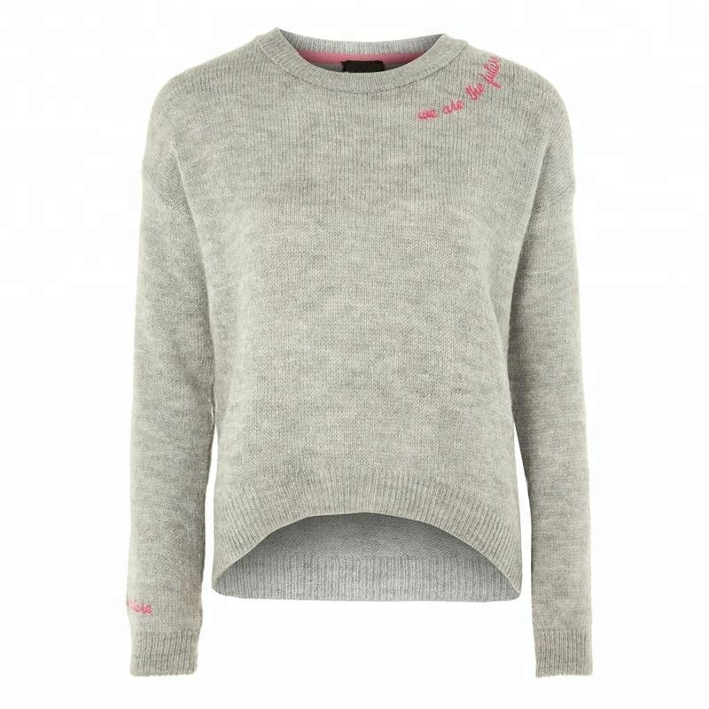 Women's autumn winter cashmere knitted embroidery basic round neck pullover sweater фото