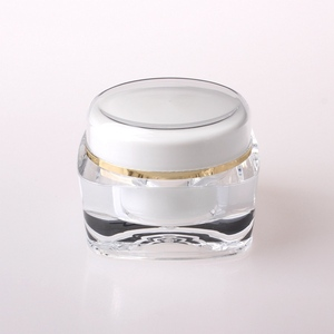 Free Sample High quality sample small plastic containers with lids, luxury empty double wall clear plastic cosmetic cream jar