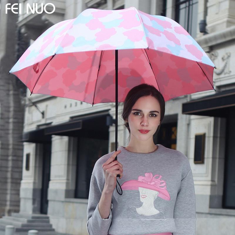 FeiNuo Лето Кучевые Дождливый Зонтик Солнцезащитный Крем Красочные Зонт Женщины сложить Зонтик