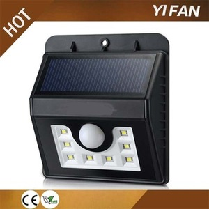 2017 new wholesale products 8led Solar Motion Sensor Mini Black Light Led Wall lamp garden Security Light used parking lot light