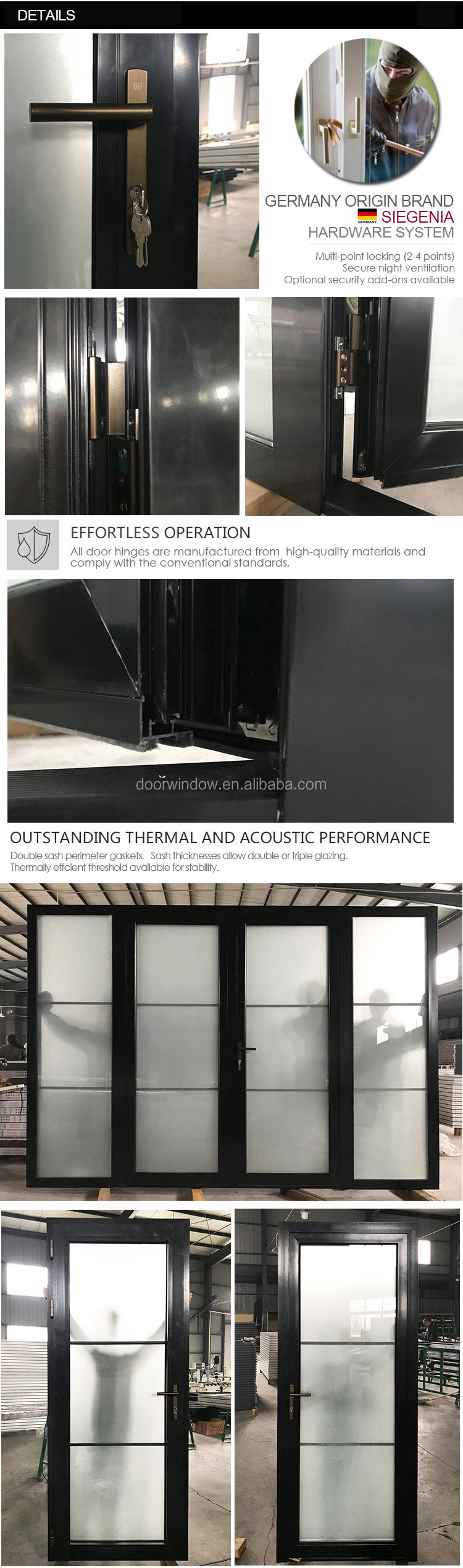 Black powder coated Color frosted tempered glass insert Thermal Break Aluminum hinged French door aluminum profile door