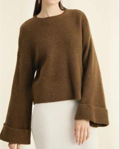 crew neck loosed alpaca sweater women pullover sweater