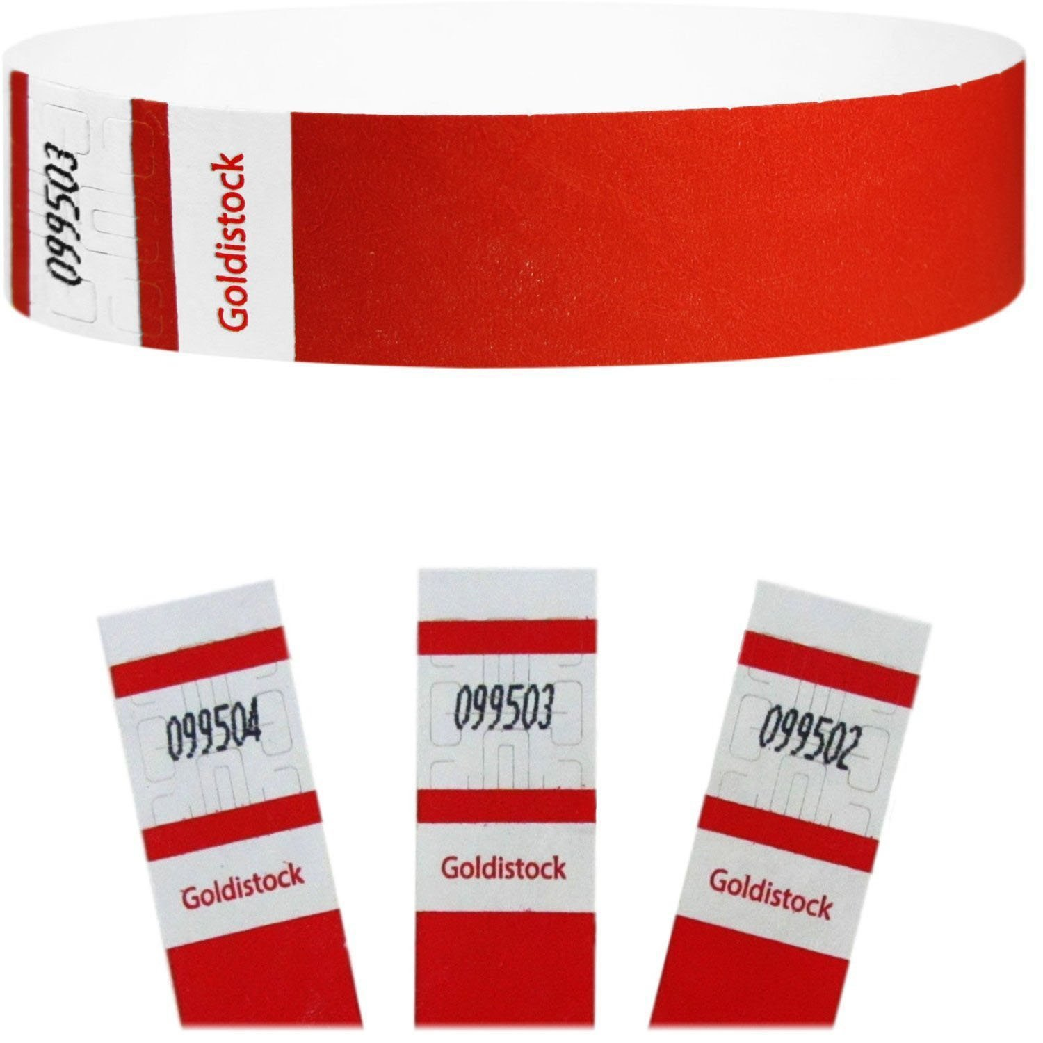 "Goldistock Select Series - 3/4"" Tyvek Wristbands Neon Red 500 Count - Event Identification Bands (Paper - Like Texture)"