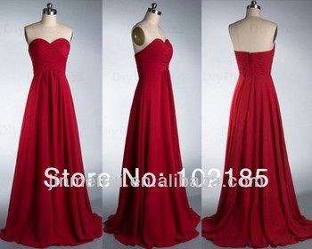 Real Sample Custom Made Floor Length Sweetheart Chiffon Long Red Bridesmaid Dress
