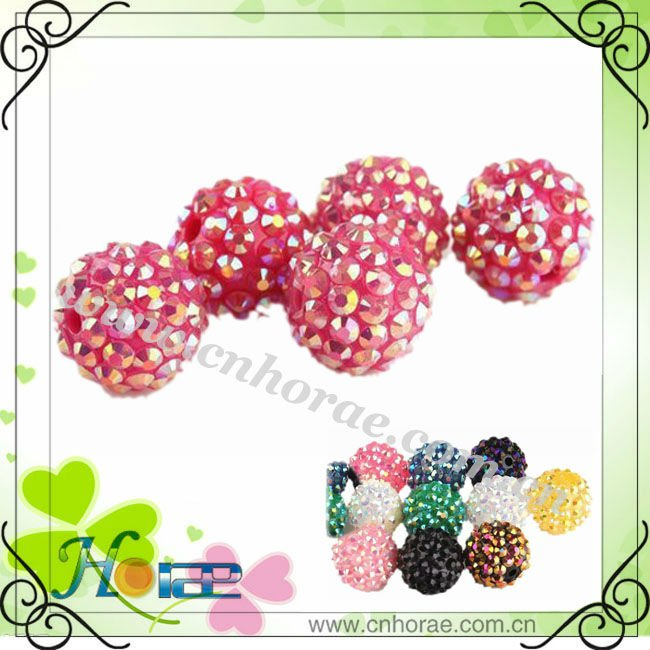 cheap shamballa beads wih resin rhinestone