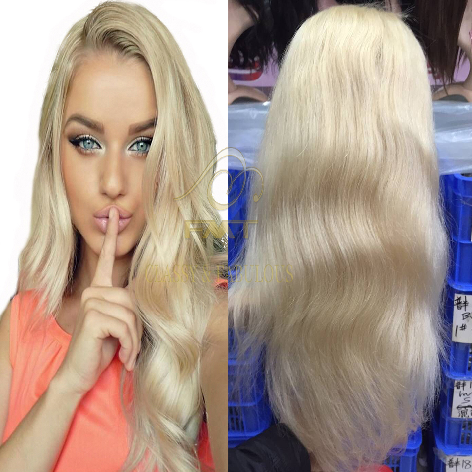 Cheap But Top Quality Human Virgin Remy Hair Body Wave 613 Blonde Color Full Lace Wig