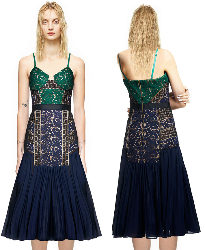 Get Quotations · New 2015 Self Portrait Dress Summer Style Patchwork Lace  Chiffon Pleat Sun Dress Sexy Splice Slip 518ceb87b