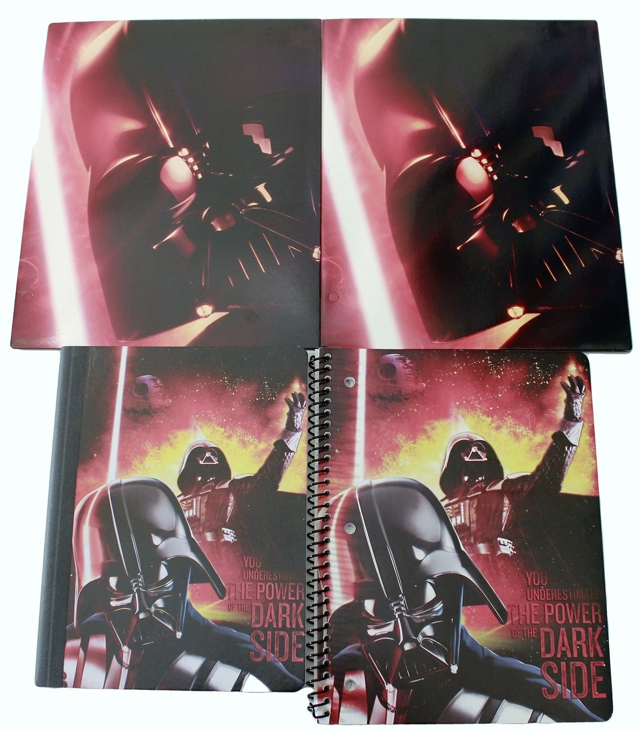 Star Wars Back to School Classroom Supply Bundle for Elementary through College Students: 1 Composition Notebook, 1 Spiral Notebook & 2 Pocket Folders (Red Darth Vader Dark Side)