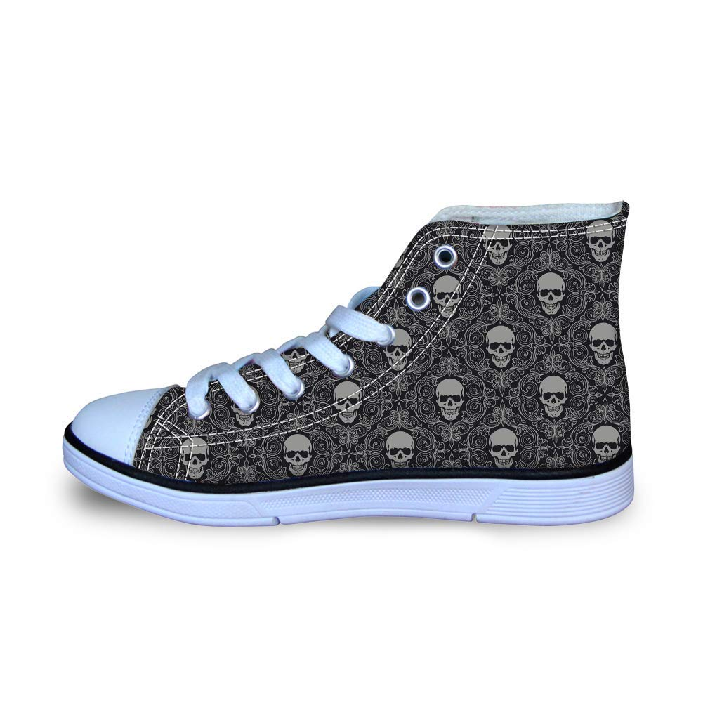 7c562ae75c Get Quotations · Canvas High Top Sneaker Casual Skate Shoe Boys Girls  Floral Pattern Laughter Skulls