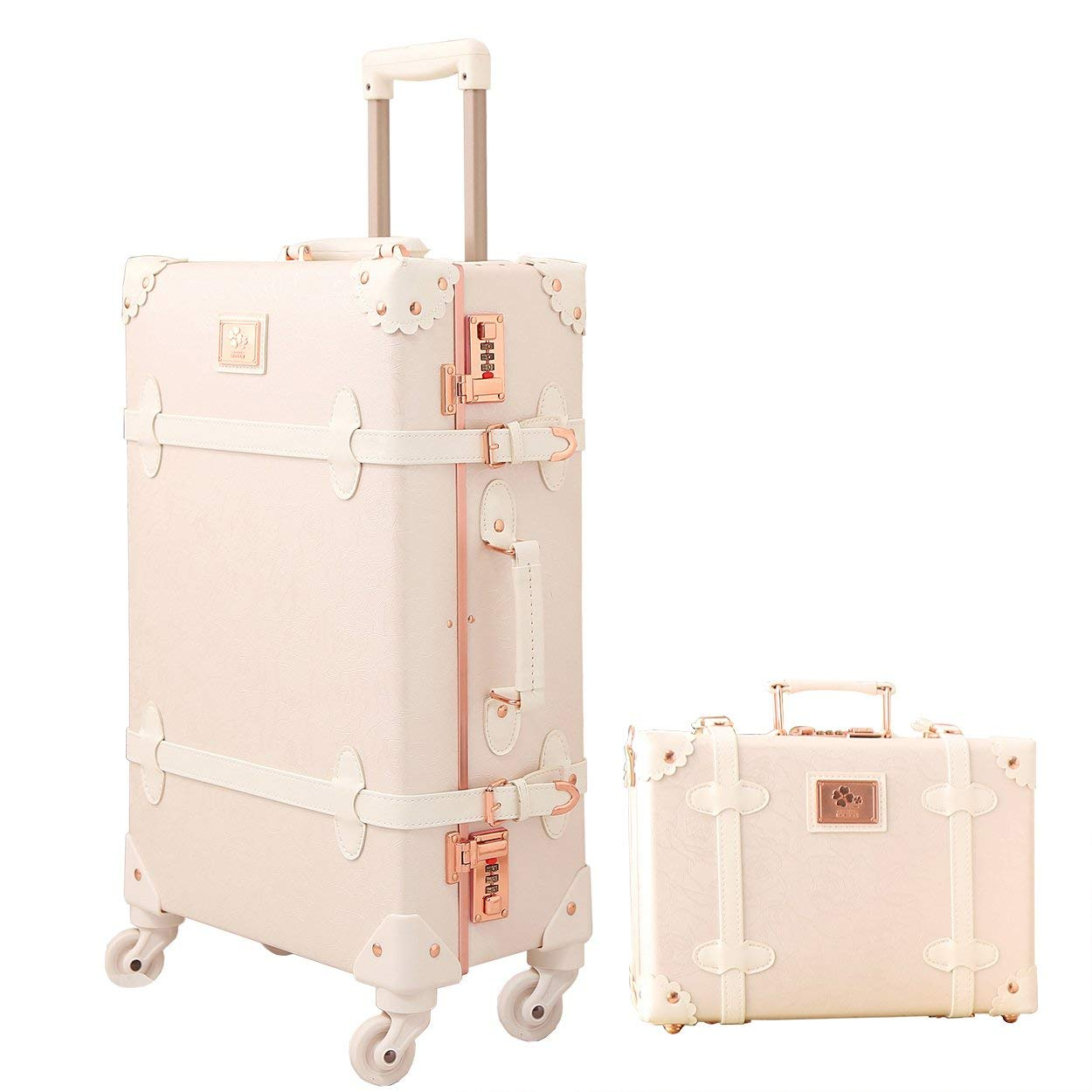 3cf4c6f25 Travel Vintage Luggage Sets Cute Trolley Suitcases Set Lightweight Trunk  Retro Style for Women Rose White