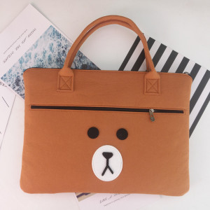 Custom Cute Brown Bear Design felt laptop briefcase bag for College Girl