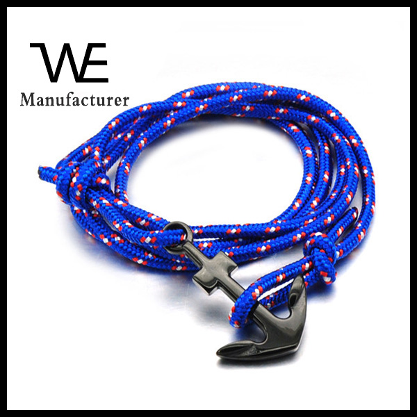 Fashion Designs High Polished 316L Stainless Steel Black PVD Men Anchor Leather Bracelet Leisure Jewelry